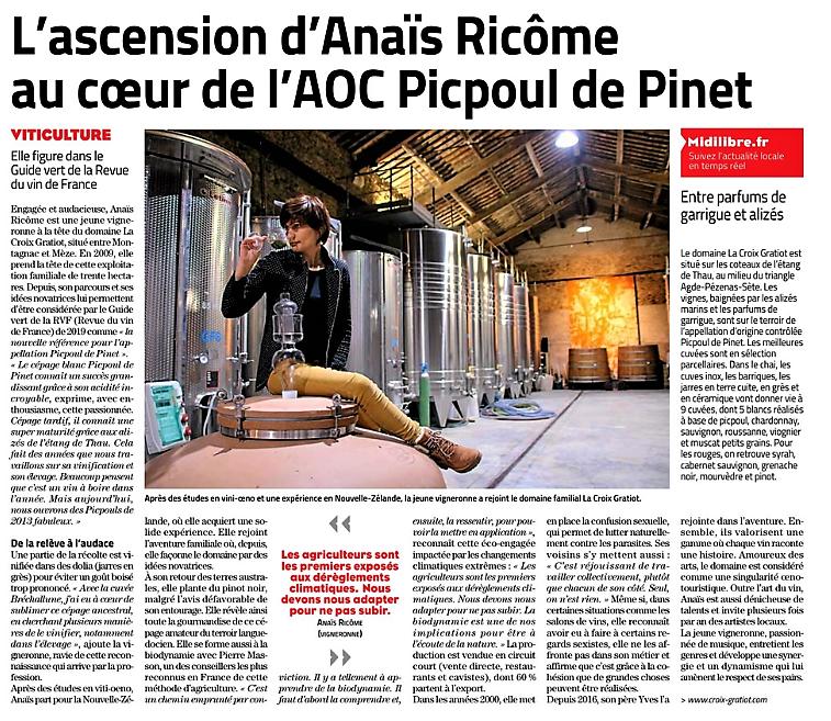 Article Midi Libre Signé Florence Renerre
